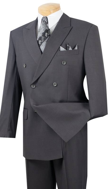 Vinci Mens Suit DC900-1-HG ( 2pc Double Breasted, 6x2, Side Vents, Pleated Pant, Solid Color )