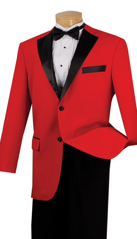 Vinci Mens Tuxedo T-2FF-RE  ( 2pc Single Breasted, Two Buttons With Fancy Lapel, Pleated Pants )