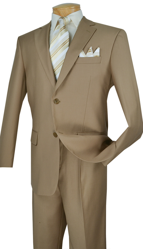 Vinci Mens Suit 2TR-KH  ( 2pc Single Breasted Two Buttons, Side Vents, Single Pleated Pants, Pure Solid )