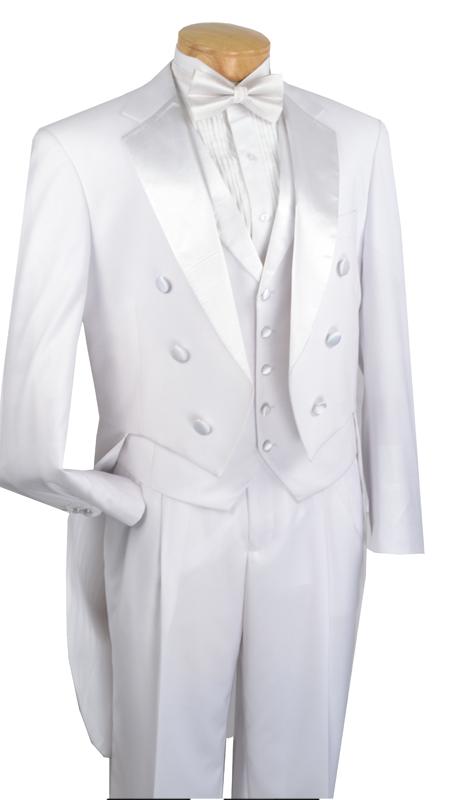 Vinci Mens Tuxedo T-2X-W ( 3pc Three Button, Notched Lapels, No Vents, Pleated Pants, Solid Color )