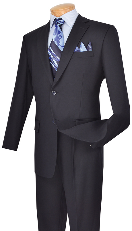 Vinci Mens Suit 2TR-NB  ( 2pc Single Breasted Two Buttons, Side Vents, Single Pleated Pants, Pure Solid )