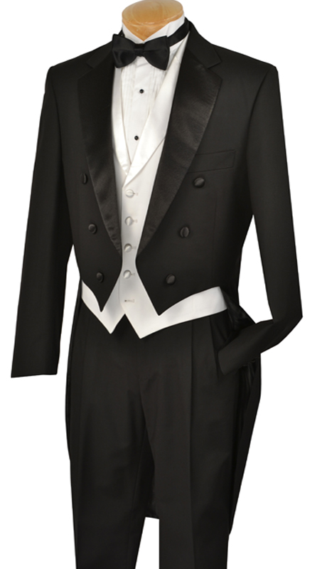 Vinci Mens Tuxedo T-2X-B ( 3pc Three Button, Notched Lapels, No Vents, Pleated Pants, Solid Color )