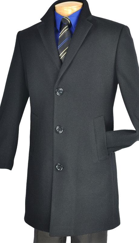 Vinci Men's Coat CS38-1-BLK ( Cashmere Wool Blend, 38 Inch Long )