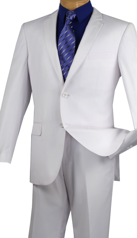 Vinci Mens Suit SC900-12-WHT  ( 2pc Single Breasted, Two Buttons, Notch Lapel With Pick Stitch, Side Vents, Flat Front Pants, Solid Color )
