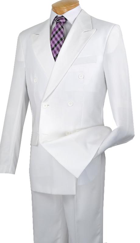 Vinci Mens Suit DPP  ( 2pc Poplin Dacron, Double Breasted, 6x2, Solid Color )