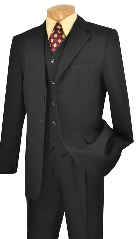 Vinci Mens Suit V-3PP ( 3pc 100% Poplin Dacron, Single Breasted Three Buttons With Vest, Solid Color )