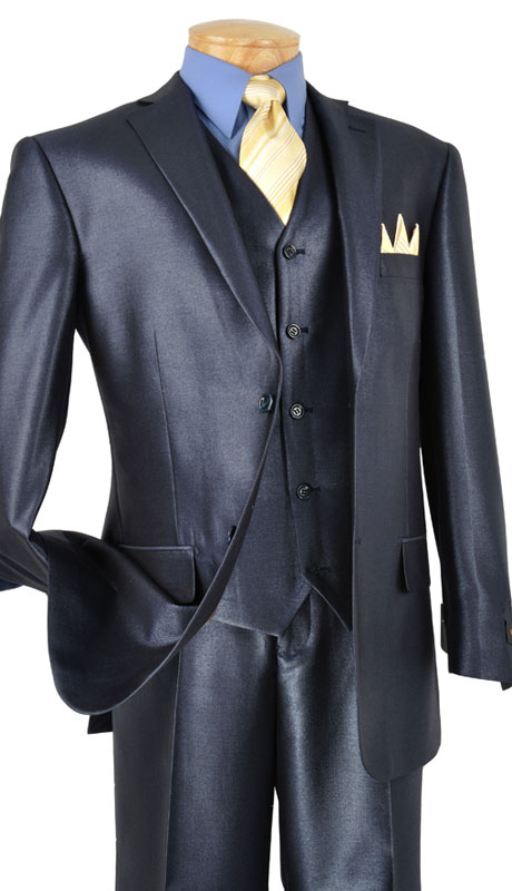 Vinci Mens Suit V2RR-1-BL ( 3pc Single Breasted Two Buttons, With Vest, Side Vents, Flat Front Pants, Shiny Solid )