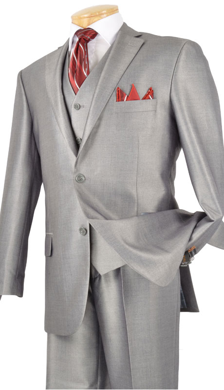 Vinci Mens Suit V2RR-1-G ( 3pc Single Breasted Two Buttons, With Vest, Side Vents, Flat Front Pants, Shiny Solid )