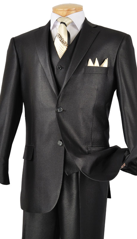 Vinci Mens Suit V2RR-1-BLK ( 3pc Single Breasted Two Buttons, With Vest, Side Vents, Flat Front Pants, Shiny Solid )