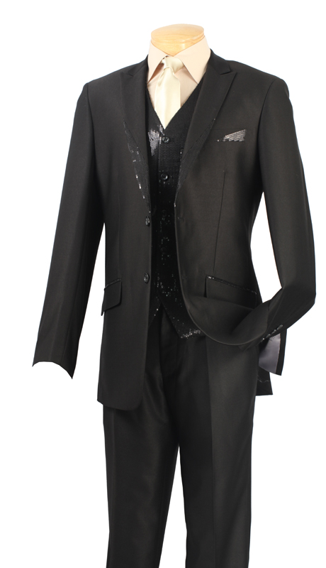 Vinci Mens Suit 23SQ-1 ( 2pc Single Breasted Two Buttons, Fancy Jacket And Vest Trimmed With Sequins, Flat Front Pants )
