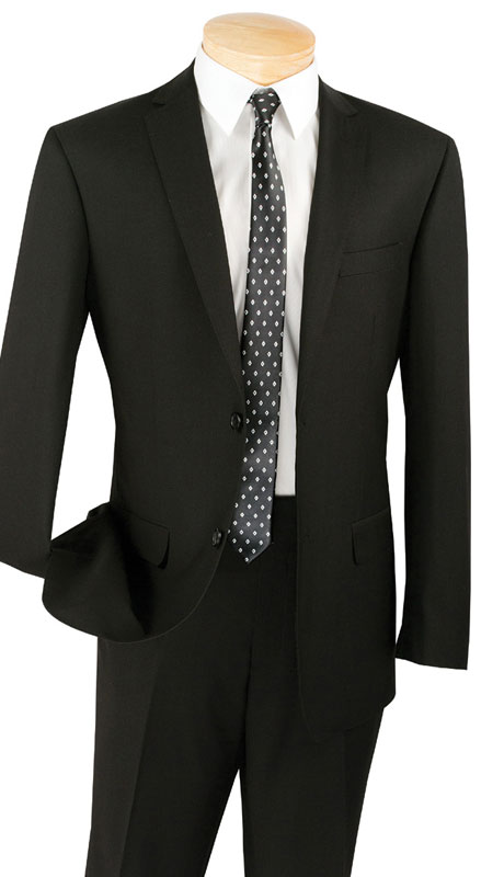 Vinci Mens Suit SC900-12-Black  ( 2pc Single Breasted, Two Buttons, Notch Lapel With Pick Stitch, Side Vents, Flat Front Pants, Solid Color )