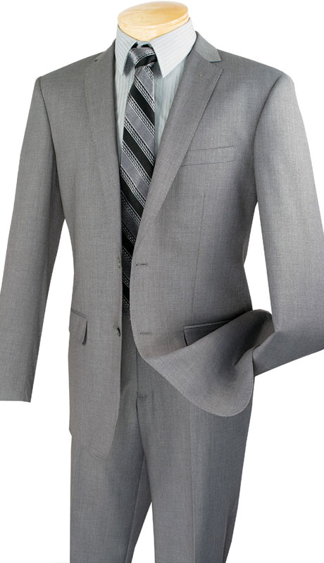 Vinci Mens Suit SC900-12-GR  ( 2pc Single Breasted, Two Buttons, Notch Lapel With Pick Stitch, Side Vents, Flat Front Pants, Solid Color )