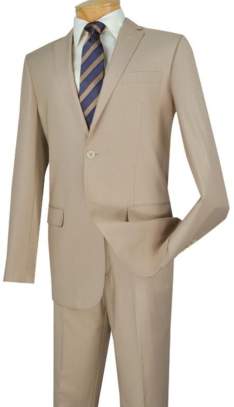 Vinci Mens Suit SC900-12-LB  ( 2pc Single Breasted, Two Buttons, Notch Lapel With Pick Stitch, Side Vents, Flat Front Pants, Solid Color )