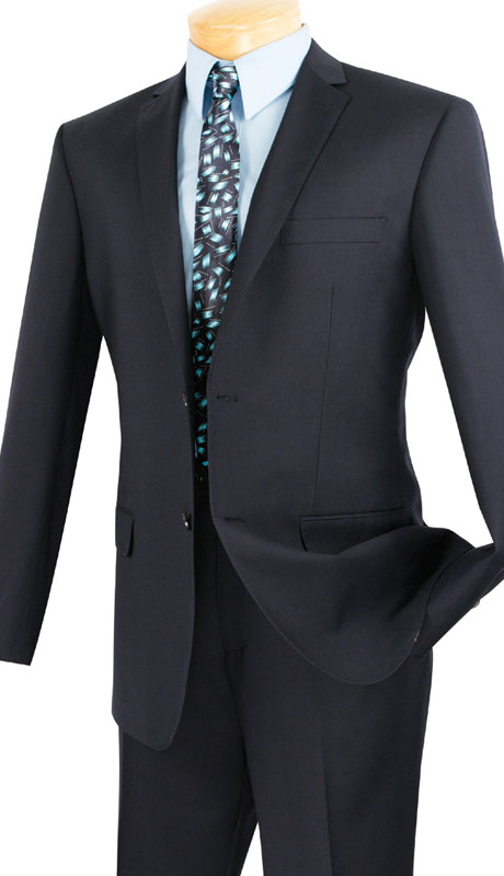 Vinci Mens Suit SC900-12-NA  ( 2pc Single Breasted, Two Buttons, Notch Lapel With Pick Stitch, Side Vents, Flat Front Pants, Solid Color )