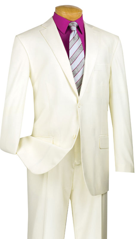 Vinci Mens Suit 2TR-IV  ( 2pc Single Breasted Two Buttons, Side Vents, Single Pleated Pants, Pure Solid )