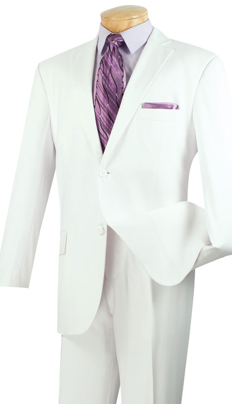 Vinci Mens Suit 2TR-WH  ( 2pc Single Breasted Two Buttons, Side Vents, Single Pleated Pants, Pure Solid )