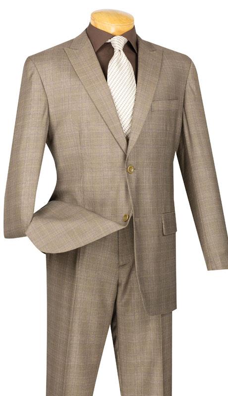 Vinci Mens Suit 2RW-1-TA ( 2pc Single Breasted, Two Buttons, Peak Lapel, Side Vents, Flat Front Pants, Glen Plaid )