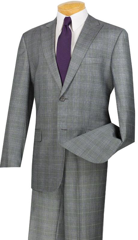 Vinci Mens Suit 2RW-1-GR ( 2pc Single Breasted, Two Buttons, Peak Lapel, Side Vents, Flat Front Pants, Glen Plaid )