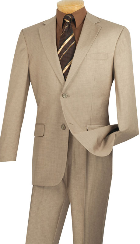 Vinci Mens Suit 2LK-1-BE  ( 2pc Single Breasted, Two Buttons, Side Vents, Flat Front Pants, Textured Weave )