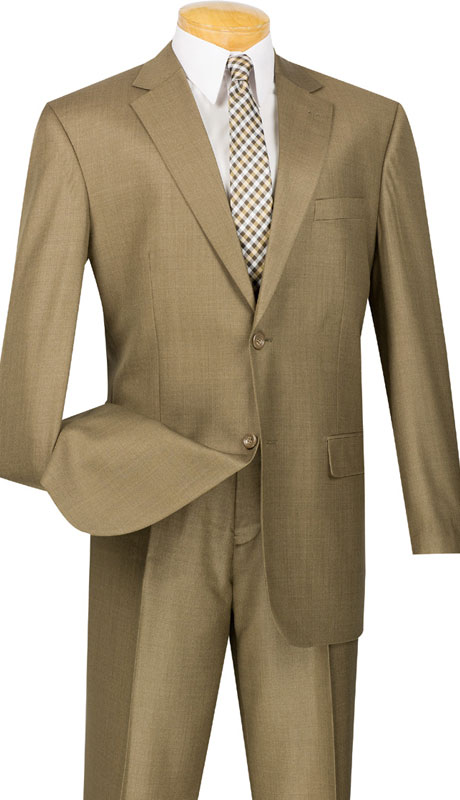 Vinci Mens Suit 2LK-1-TA  ( 2pc Single Breasted, Two Buttons, Side Vents, Flat Front Pants, Textured Weave )