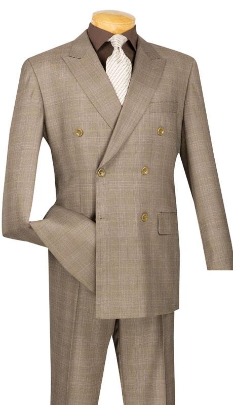 Vinci Mens Suit DRW-1-TA  ( 2pc Double Breasted, Side Vents, Pleated Pants, Glen Plaid )