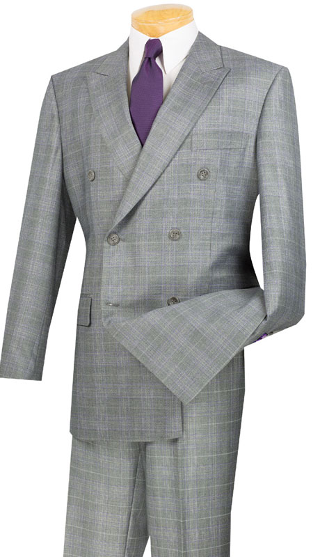 Vinci Mens Suit DRW-1-GR  ( 2pc Double Breasted, Side Vents, Pleated Pants, Glen Plaid )