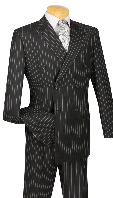 Vinci Mens Suit DSS-4-BK-10-1  ( 2pc Double Breasted, Side Vents, Pleated Pants, Banker Stripe )