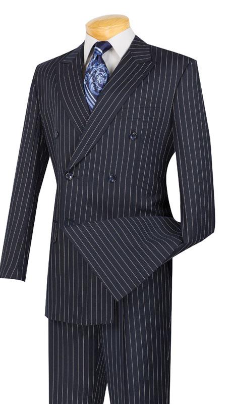 Vinci Mens Suit DSS-4-BL-10-1  ( 2pc Double Breasted, Side Vents, Pleated Pants, Banker Stripe )