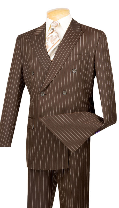Vinci Mens Suit DSS-4-BR-10-1  ( 2pc Double Breasted, Side Vents, Pleated Pants, Banker Stripe )