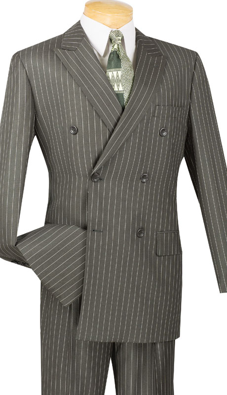 Vinci Mens Suit DSS-4-CH-10-1  ( 2pc Double Breasted, Side Vents, Pleated Pants, Banker Stripe )