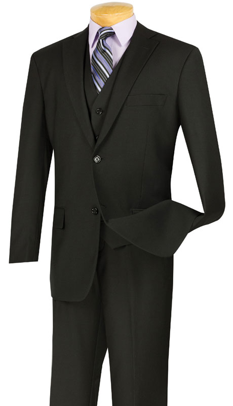Vinci Mens Suit V2TR-BLK  ( 3pc Single Breasted, Two Buttons,  Side Vents, Flat Front Pants, Pure Solid )