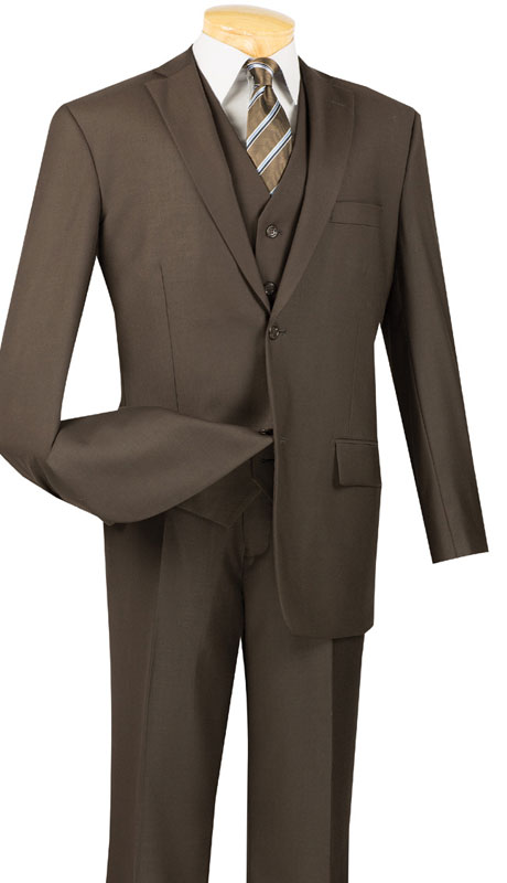 Vinci Mens Suit V2TR-BR  ( 3pc Single Breasted, Two Buttons,  Side Vents, Flat Front Pants, Pure Solid )