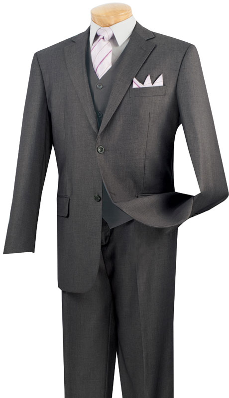 Vinci Mens Suit V2TR-HG  ( 3pc Single Breasted, Two Buttons,  Side Vents, Flat Front Pants, Pure Solid )