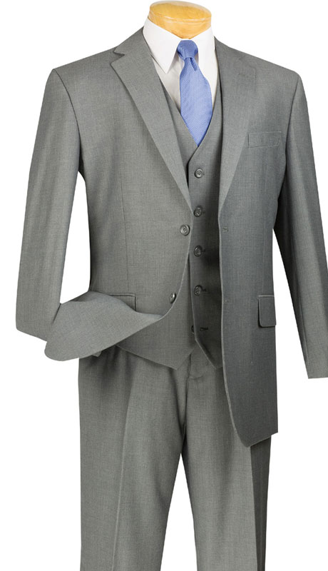 Vinci Mens Suit V2TR-MG  ( 3pc Single Breasted, Two Buttons,  Side Vents, Flat Front Pants, Pure Solid )