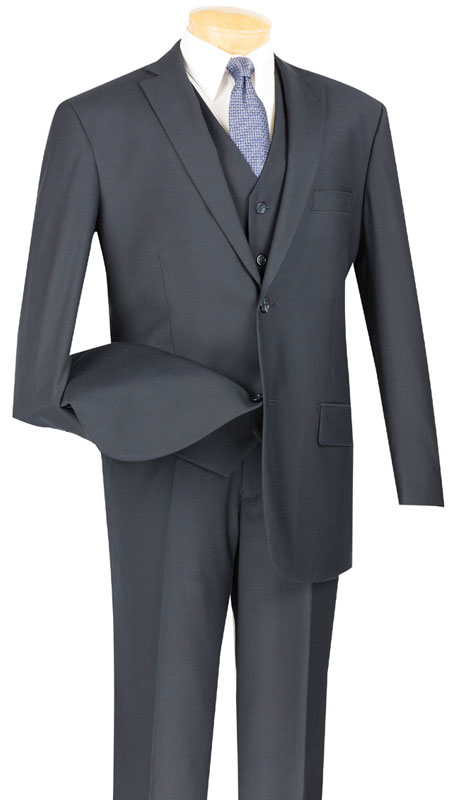 Vinci Mens Suit V2TR-NA  ( 3pc Single Breasted, Two Buttons,  Side Vents, Flat Front Pants, Pure Solid )