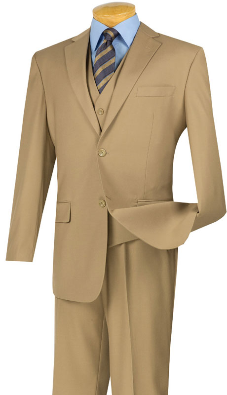 Vinci Mens Suit V2TR-KH  ( 3pc Single Breasted, Two Buttons,  Side Vents, Flat Front Pants, Pure Solid )