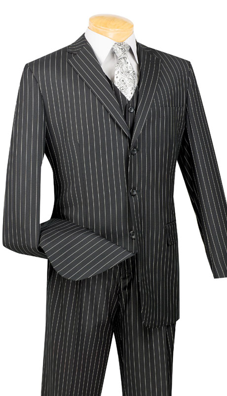 Vinci Mens Suit V3RS-9-BK ( 3pc Single Breasted, Three Buttons,  Side Vents, Pleated Pants, Banker Stripe )