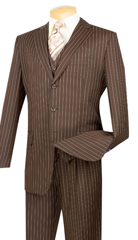 Vinci Mens Suit V3RS-9-BR ( 3pc Single Breasted, Three Buttons,  Side Vents, Pleated Pants, Banker Stripe )