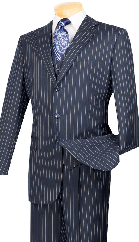 Vinci Mens Suit V3RS-9-BL ( 3pc Single Breasted, Three Buttons,  Side Vents, Pleated Pants, Banker Stripe )