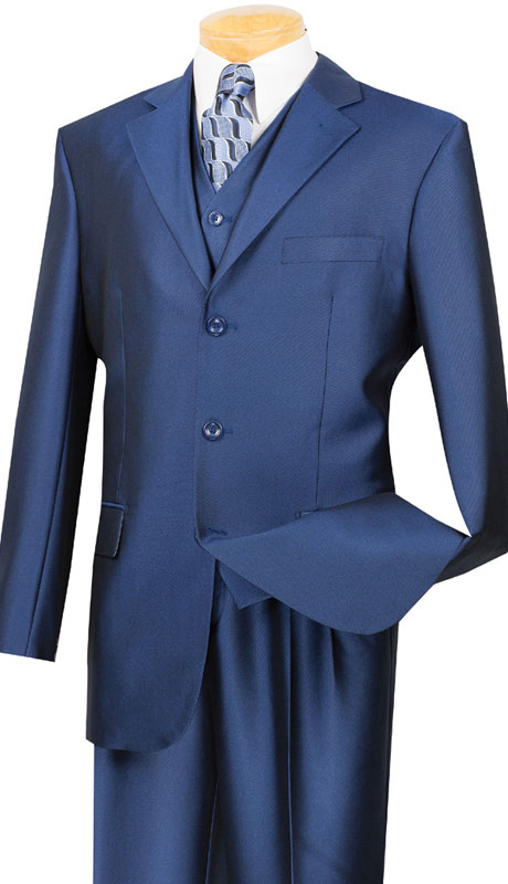 Vinci Mens Suit V3RR-4-IB ( 3pc Single Breasted, Three Buttons,  Side Vents, Pleated Pants, Shark Skin )