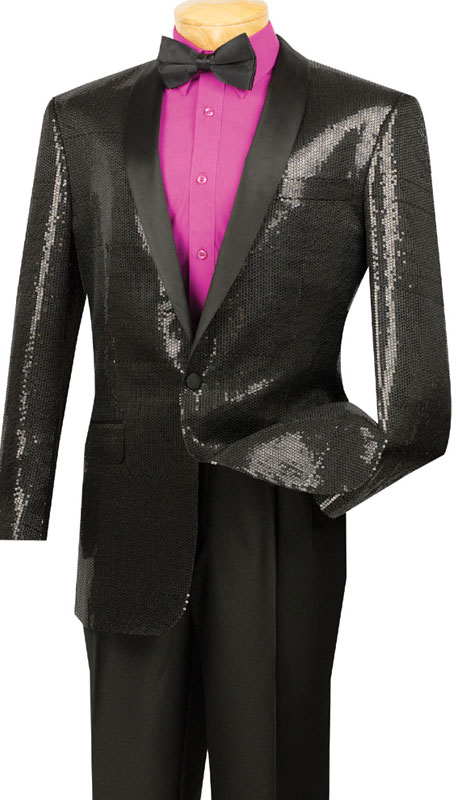 Vinci Mens Suit BSQ-1-BL  ( 1pc Single Breasted, One Button, Side Vents, Shawl Collar Sequins, Sports Coat )