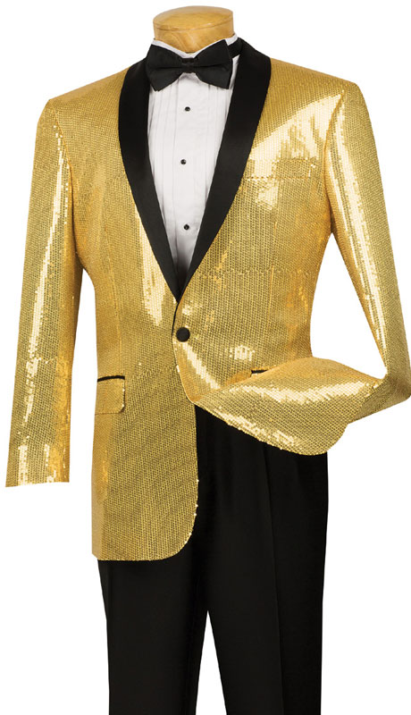 Vinci Mens Suit BSQ-1-GO ( 1pc Single Breasted, One Button, Side Vents, Shawl Collar Sequins, Sports Coat )