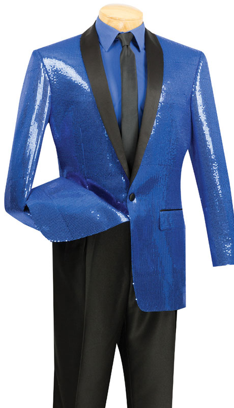 Vinci Mens Suit BSQ-1-SG ( 1pc Single Breasted, One Button, Side Vents, Shawl Collar Sequins, Sports Coat )