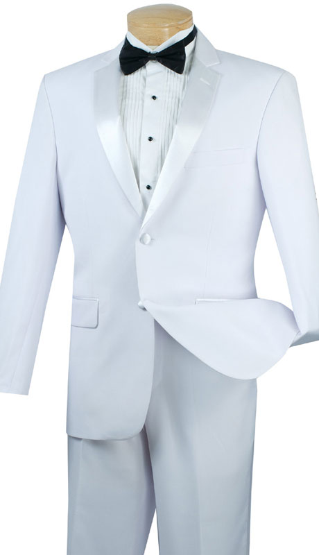 Vinci Mens Tuxedo T-SC900-WH ( 2pc Single Breasted, Two Buttons, Side Vents, Flat Front Pants, Solid Color )