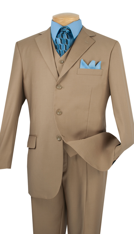 Vinci Mens Suit 3TR-3-KH ( 3pc Single Breasted With Vest, Three Buttons, Side Vents, Pleated Pants, Pure Solid )