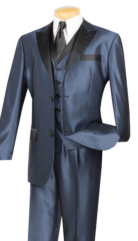 Vinci Mens Suit 23TX-1-MB ( 3pc Single Breasted, Two Buttons,  Peek Sateen Lapel, Side Vents, Single Pleated Pants )