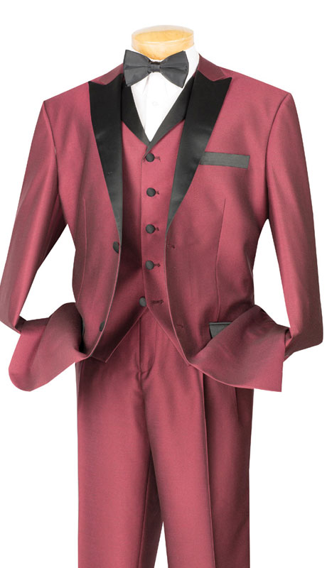 Vinci Mens Suit 23TX-1-WI ( 3pc Single Breasted, Two Buttons,  Peek Sateen Lapel, Side Vents, Single Pleated Pants )