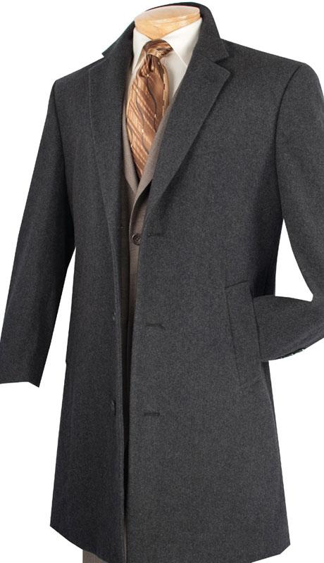 Vinci Mens Coat CS38-1-CH  ( Cashmere Wool Blend, 38 Inch Long )