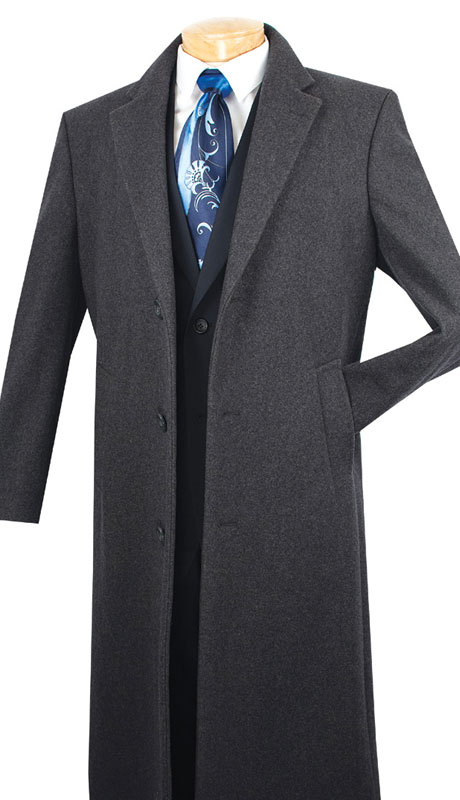 Vinci Mens Coat CL48-1-CH ( 1pc Single Breasted Three Buttons, 48 Inch Full Length, Solid Color )