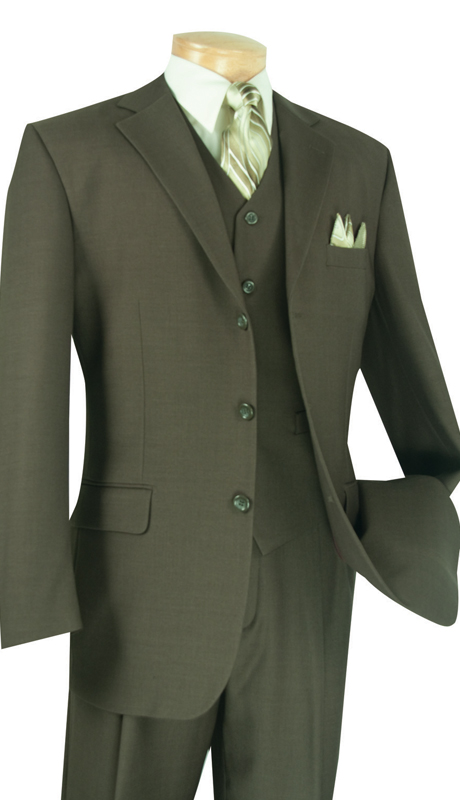 Vinci Mens Suit 3TR-3-FO ( 3pc Single Breasted With Vest, Three Buttons, Side Vents, Pleated Pants, Pure Solid )